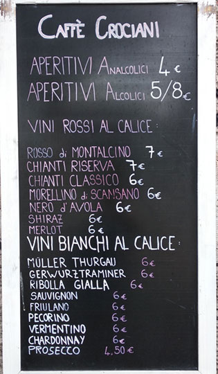 Caffe Crociani - Wine Bar - Aperitivo Buffet Vino Grappa Spumante Champagne 12 - Menu Wine Bar